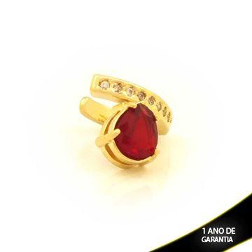 Imagem de Brinco Piercing de Pressão com Zircônias e Gota de Pedra Vermelho - 0211812