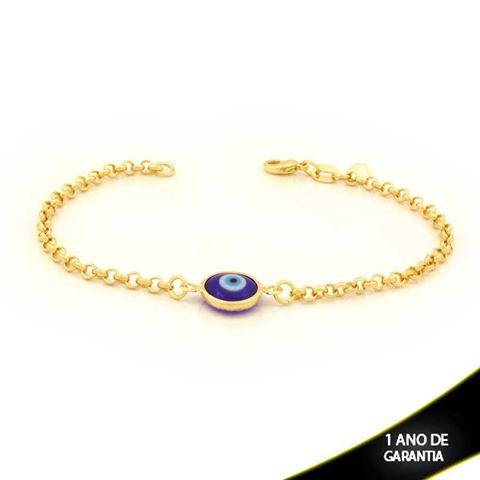 Imagem de Pulseira Feminina com Olho Grego Azul Escuro 19cm - 0503735