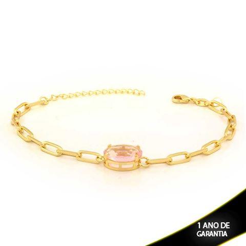 Imagem de Pulseira Feminina com Pedra Oval Rosa 18cm Mais 5cm de Extensor - 0503746