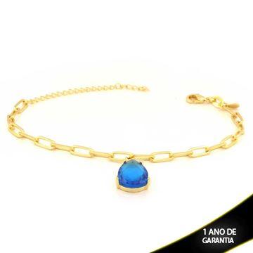 Imagem de Pulseira Feminina com Gota de Pedra Azul 16cm Mais 5cm de Extensor - 0503747