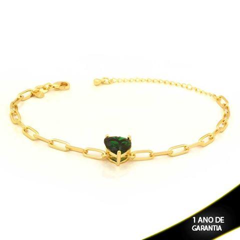 Imagem de Pulseira Feminina com Coração de Pedra Verde 16cm Mais 5cm de Extensor - 0503748