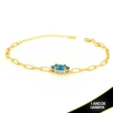Imagem de Pulseira Feminina com Navete de Pedra Azul 18cm Mais 5cm de Extensor - 0503750