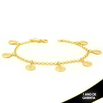 Imagem de Pulseira Feminina Sete Medalhões São Bento 19cm - 0503768