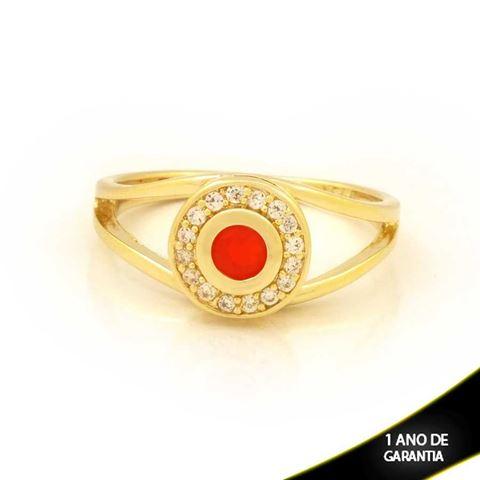 Imagem de Anel Redondo com Zircônias e Pedra Vermelha - 0104811