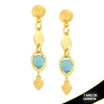 Imagem de Brinco com Placa Riscada e Pedra Azul - 0211824