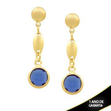 Imagem de Brinco Peça Oval e Pedra Redonda Azul - 0211819