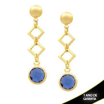 Imagem de Brinco Peças Quadradas e Pedra Redonda Azul - 0211820