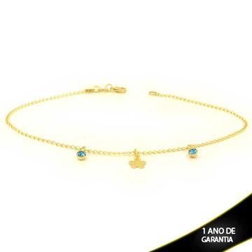 Imagem de Tornozeleira com Flor e Strass Azul 28cm - 0600653