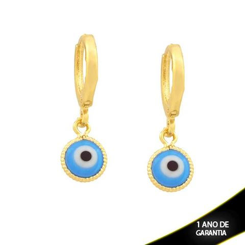 Imagem de Brinco Argola com Olho Grego Azul Claro - 0211746