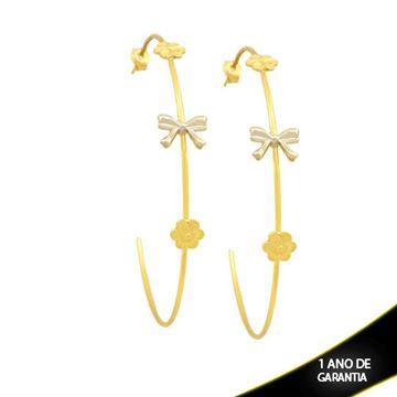 Imagem de Brinco Argola Grande Fio com Laço e Flores e Aplique de Ródio - 0211777