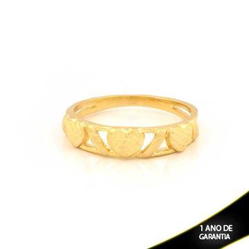 Imagem de Anel Três Corações Vazado Diamantado - 0104765