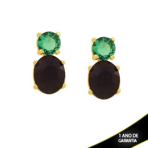 Imagem de Brinco Pedra Redonda e Oval Verde e Preto - 0211734