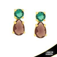 Imagem de Brinco Pedra Redonda e Gota Azul e Roxo - 0211733