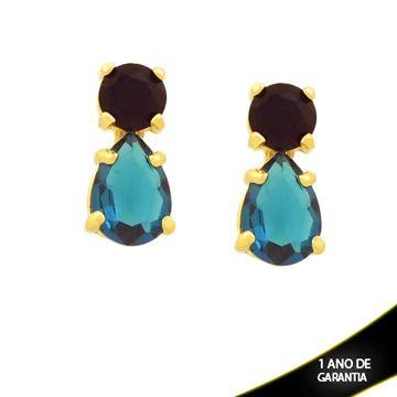 Imagem de Brinco Pedra Redonda e Gota Preto e Azul Marinho - 0211733
