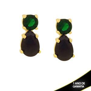Imagem de Brinco Pedra Redonda e Gota Verde com Preto - 0211733