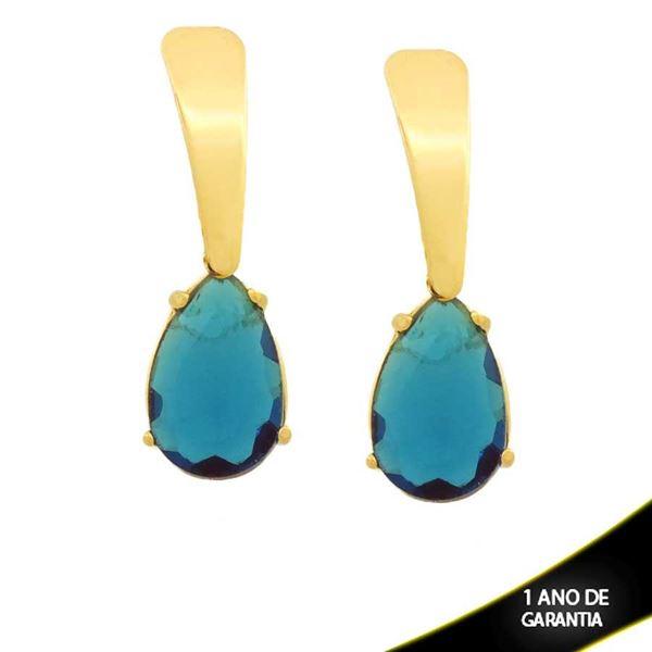 Imagem de Brinco com Pedra de Gota Azul - 0211739
