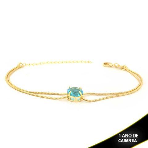 Imagem de Pulseira Feminina com Pedra Redonda Azul 17cm Mais 5cm de Extensor - 0503743
