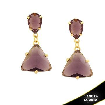 Imagem de Brinco com Pedras Oval e Triangular - 0211741