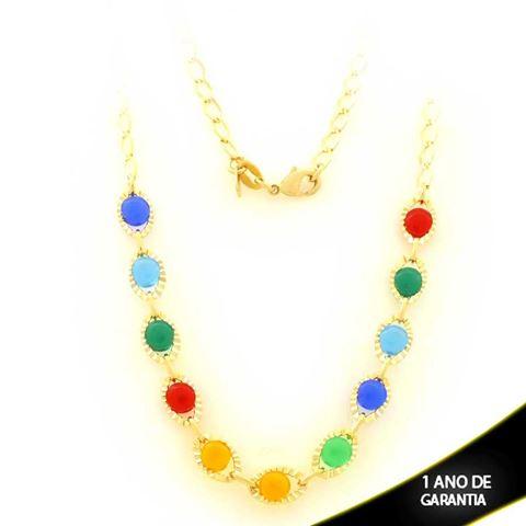 Imagem de Corrente Feminina com Pedras Coloridas 44cm - 0403517