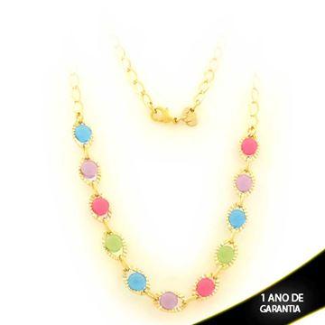 Imagem de Corrente Feminina com Pedras Coloridas 3mm 44cm - 0403527