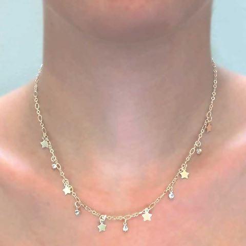Imagem de Corrente Feminina com Estrelas e Strass 40cm - 0403532