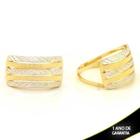 Imagem de Anel Fosco e Diamantado com Aplique de Ródio - 0104777