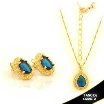 Imagem de Conjunto Gota com Pedra Azul Escuro 45cm Mais 5cm de Extensor - 0701020