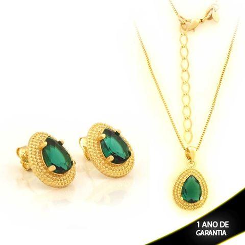 Imagem de Conjunto Gota com Pedra Verde 45cm Mais 5cm de Extensor - 0701020