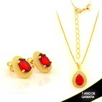 Imagem de Conjunto Gota com Pedra Vermelha 45cm Mais 5cm de Extensor - 0701020