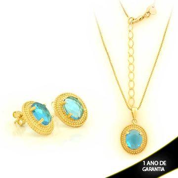 Imagem de Conjunto com Pedra Oval Azul 45cm Mais 5cm de Extensor - 0701022