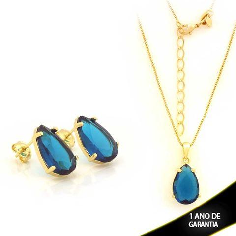 Imagem de Conjunto Gota de Pedra Azul 45cm Mais 5cm de Extensor - 0701023