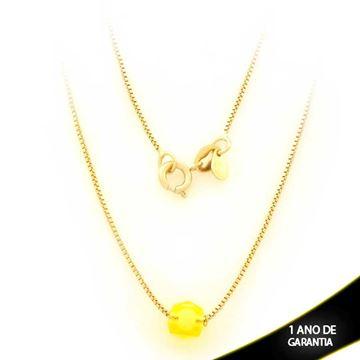 Imagem de Corrente Feminina com Pedra Amarela 45cm - 0403534