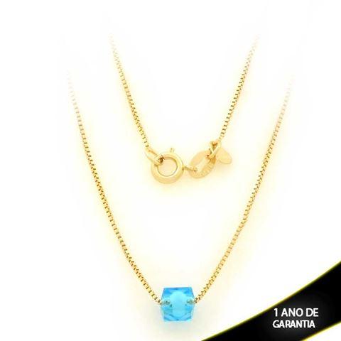 Imagem de Corrente Feminina com Pedra Azul 45cm - 0403534