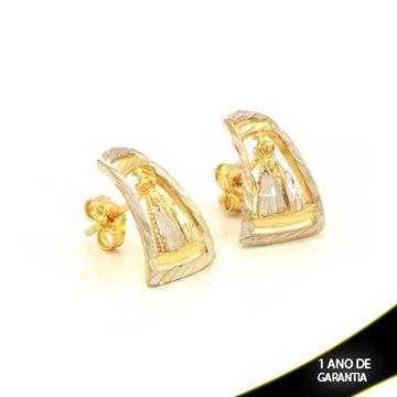Imagem de Brinco Nossa Senhora Aparecida Diamantado com Aplique de Ródio - 0211843