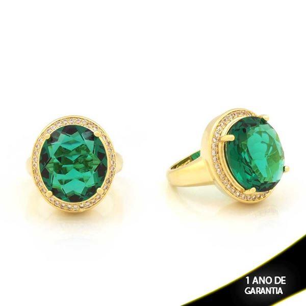 Imagem de Anel com Zircônias e Pedra Grande Oval Verde - 0104172