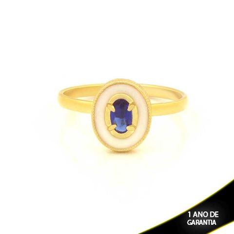 Imagem de Anel Oval com Resina e Pedra Azul - 0104762