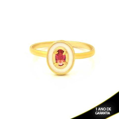 Imagem de Anel Oval com Resina e Pedra Rosa - 0104762