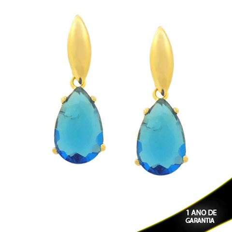 Imagem de Brinco com Pedra de Gota Azul - 0211738