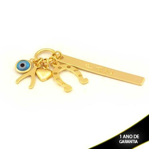 """Imagem de Pingente Placa Escrito """"Paz"""", Pingentes e Olho Grego Azul Claro - 0304431"""