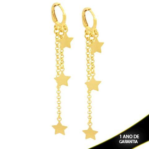 Imagem de Brinco Argola com Estrelas e Correntes - 0211882