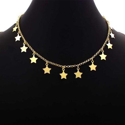 Imagem de Corrente Feminina Choker com Estrelas 35cm Mais 4cm de Extensor - 0403535
