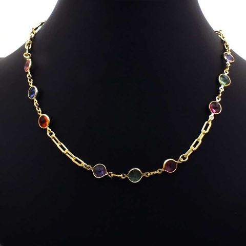 Imagem de Corrente Feminina Choker com Pedras Redondas Coloridas 35cm Mais 5cm de Extensor - 0403539