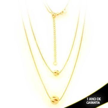 Imagem de Corrente Feminina Dupla com Bolas Foscas e Diamantadas Vazadas - 0403432