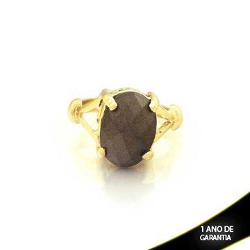 Imagem de Anel com Pedra Acrílica Oval Marrom Brilhante - 0103807