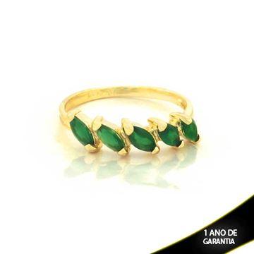 Imagem de Anel com Pedras de Zircônias Verde Esmeralda - 0104433
