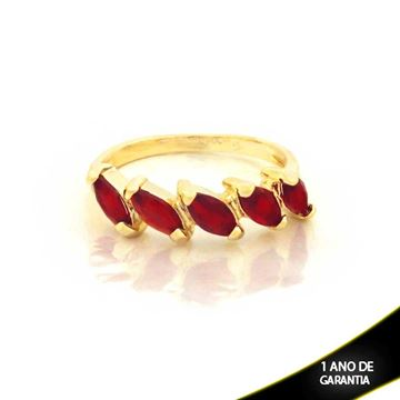 Imagem de Anel com Pedras de Zircônias Vermelho - 0104433