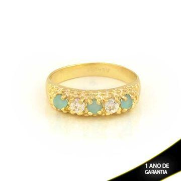 Imagem de Anel Trabalhado com Pedras de Zircônias Branco e Azul Claro - 0104443