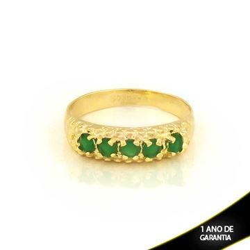 Imagem de Anel Trabalhado com Pedras de Zircônias Verde - 0104443