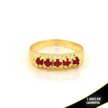 Imagem de Anel Trabalhado com Pedras de Zircônias Vermelho - 0104443