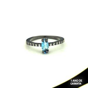 Imagem de Anel Banho Negro com Zircônias e Pedra Natural Azul - 0104476